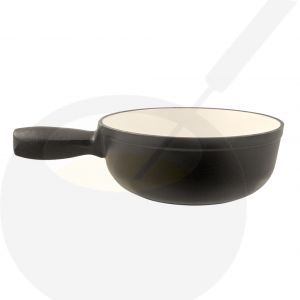Plain black cast iron/enamelled cheese fondue pot