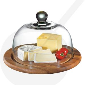Cheese dome acacia wood with glass cover Ø 25 cm