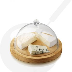 Cheese dome oak wood with plastic cover Ø 23 cm