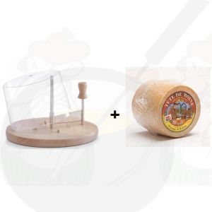 Cheese Curler with Dome | Beechwood + Tête de Moine Cheese | +/- 850g - 1.87 lbs