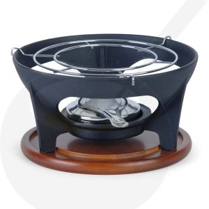 Relance fondue base cast iron with wooden tray