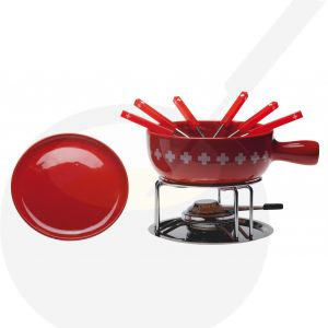 Cheese fondue set Swiss Cross with plates