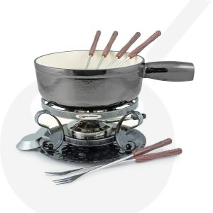 Swissmar Lugano 9 PC Black Metalic Cheese fondue set